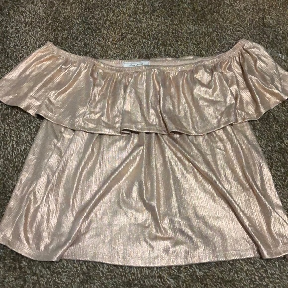 Adam Levine Collection Tops - NWT Adam Levine Rose Gold Off Shoulder Top Size L